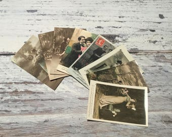 Vintage French Postcard Set . Romantic Couples Postcards . Lot of 8 Vintage Postcards .  Vintage Postcard Pack .