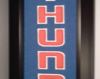 Oklahoma City Thunder Team Heritage Banner....Framed