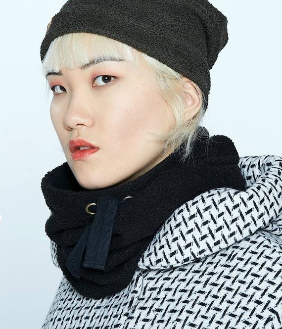 MYSKI - plain neckwarmer for winter, scarf lined in polar for womens - black