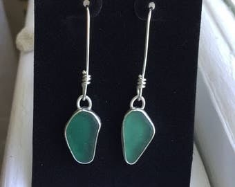 Sea Glass Teal Earrings Grecian Genuine Hand Forged Mermaid Sterling Silver Wrapped Dangle