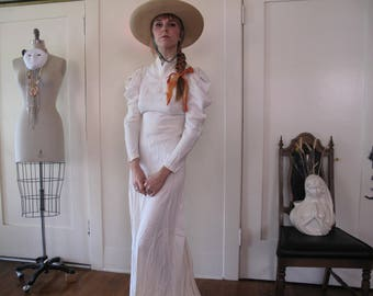 30's Satin Wedding Gown w/ Amazing Collar sz Us 4-6