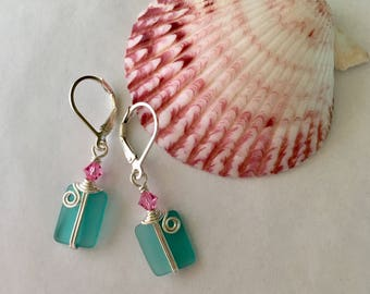 Support Ovarian Cancer TEALWalk Jewelry, Pink and Teal Sterling Silver Stained Glass Earrings, Ovarian and Breast Cancer Awareness Jewelry