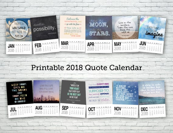 Quotes 2018 Calendar Enchanting Printable Calendar 2018 Quote Calendar Digital Calendar