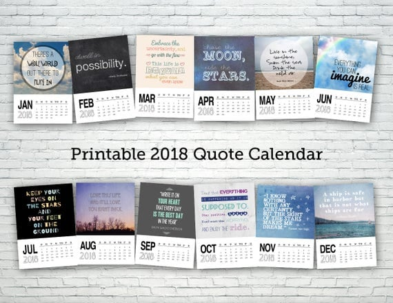 Quotes 2018 Calendar Glamorous Printable Calendar 2018 Quote Calendar Digital Calendar