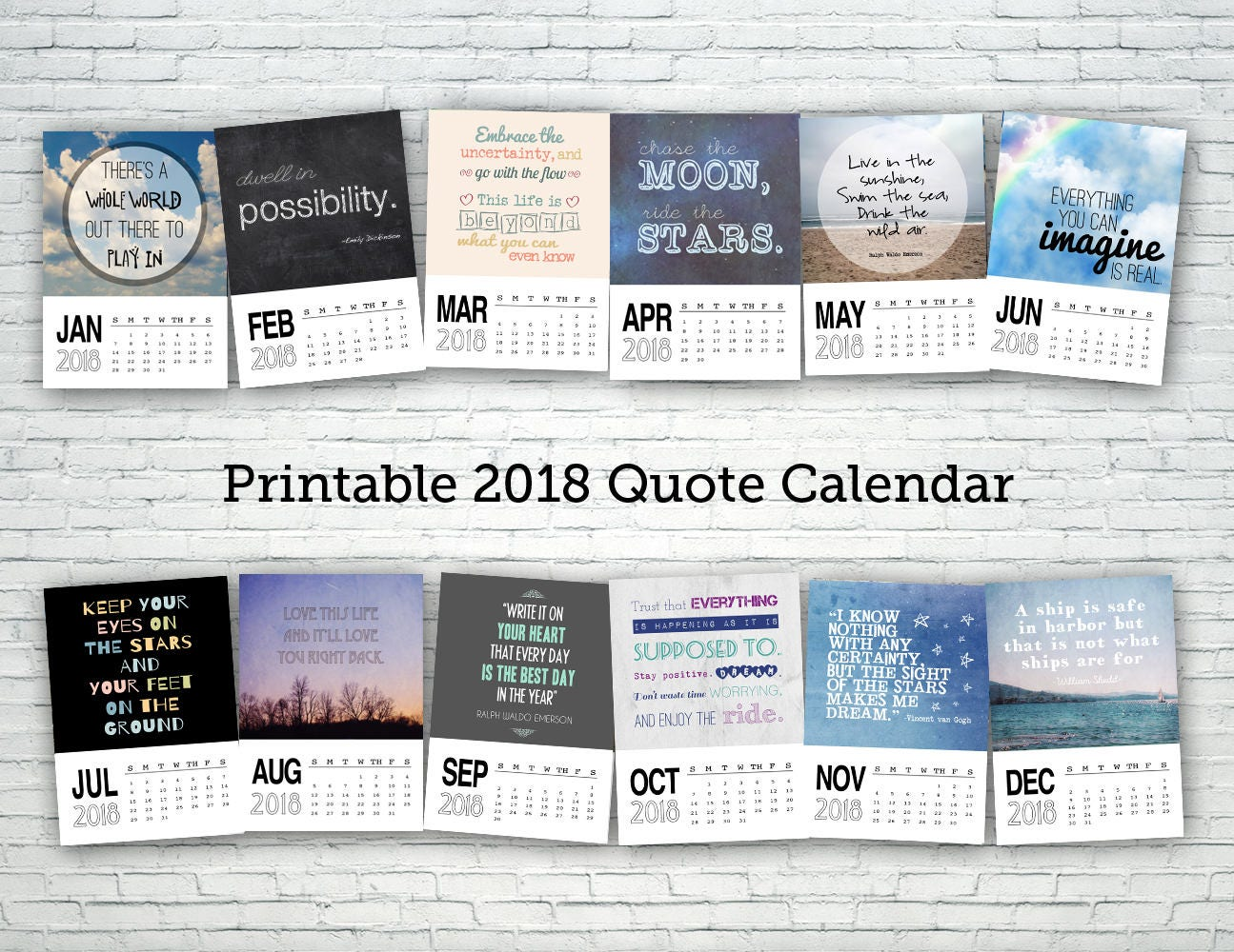 2018 Calendar Inspirational : Printable calendar quote digital