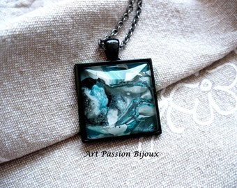 Green gray necklace, marble jewelry, hippie wavy jewelry, abstract jewelry, gothic necklace, swirl necklace, painted on water, 15% off ship