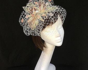 Pink Fascinator, ivory hat, Ascot Fascinator, Mother of the bride hat, vintage wedding headdress, bespoke fascinator
