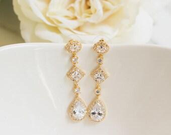Bridal Earrings | Long Earrings | Bridesmaid Earrings | Wedding Jewelry | Rose Gold Earrings | Yellow Gold Earrings | Dangle Earrings