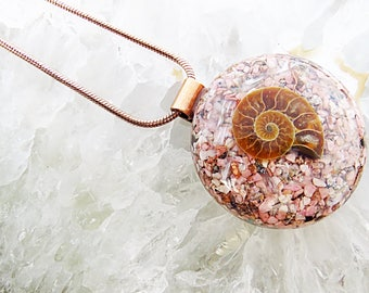 Orgonite® Orgone Pendant (Large) - Selenite/Rhodonite/Ammonite - FREE WORLDWIDE SHIPPING!