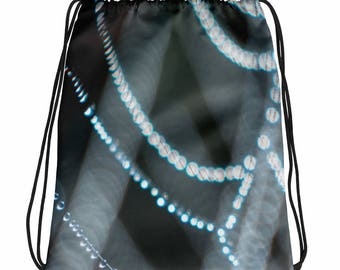 Spider Web Bag, Nature Book bag, Drawstring bag, Overnight Bag, Green Book Bag, Kids Bag, Flower Girl Gift, Sports Bag, Teen Bag, Gym Bag