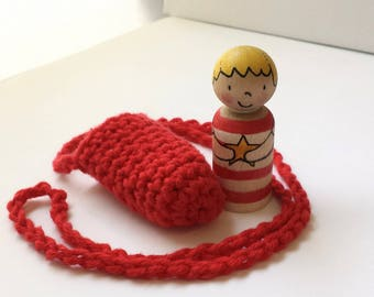Peg Doll in crochet carry pouch, hand painted wooden doll, waldorf toy, imaginative play, preschooler travel toy, illustrated doll