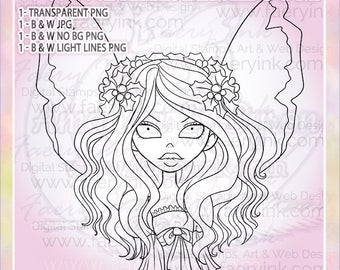 Holly & Bows Holiday Fairy Fae Faery UNCOLORED Digital Stamp Image Adult Coloring Page jpeg png jpg Craft Cardmaking Papercrafting DIY