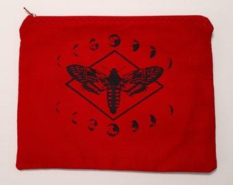Red Moth Makeup Bag/Cosmetics Bag/Zipper Pouch