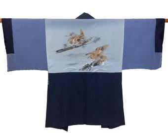 Vintage Men's Silk Haori Kimono Jacket Boho Kimono Handmade Gift for Him Original Japanese Kimono