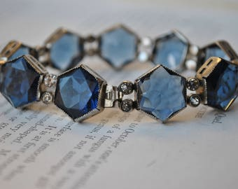 Antique Bracelet - 1920s Art Deco Glass Stone Bracelet