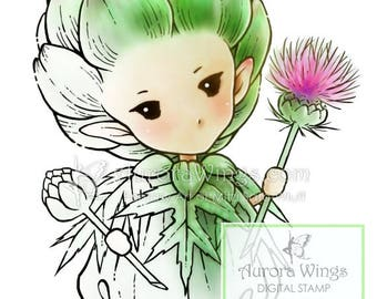 Digital Stamp - Artichoke Sprite - Whimsical Vegetable Fae - digistamp - Fantasy Sprite Line Art for Cards & Crafts by Mitzi Sato-Wiuff