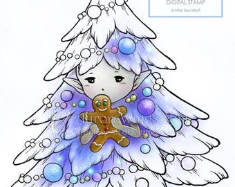 Digital Stamp - Christmas Tree Sprite with Gingerbread Man - Holiday Whimsical Fantasy Line Art for Cards & Crafts by Mitzi Sato-Wiuff