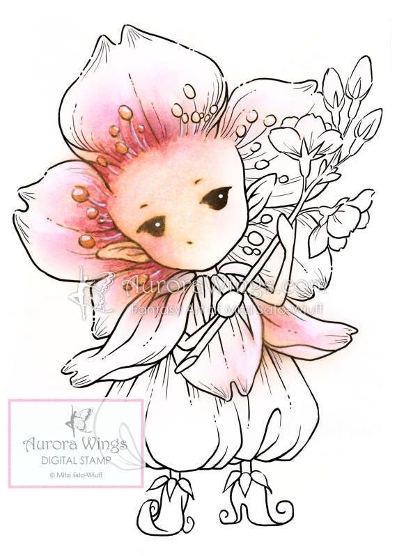 Digital Stamp Cherry Blossom Sprite Sakura Fairy Holding - Us map sprite2 file