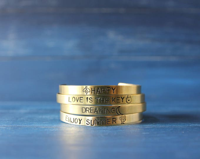 Mantra cuff bracelet Inspirational brass bangle READY TO SHIP