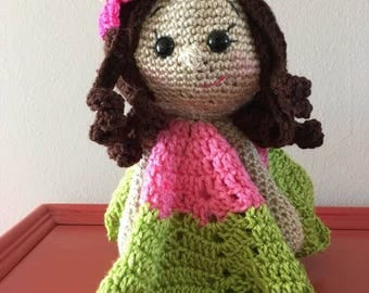 Mya the Hawaiian girl Lovey/Security Blanket (Crocheted)