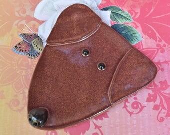 Dog spoon rest. Ceramic dog jewelry holder. Labrador dog dish. Dog ring holder. Lab spoon rest. Handmade  dog plate. Dog ring holder