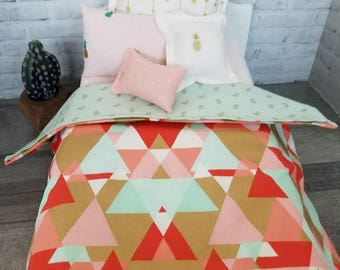 Doll Bedding Mint, Coral,Gold bedding set, 18 inch Doll Bedding,Glitter, Arrow