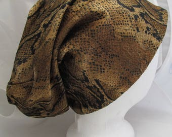 Slouchy Hat Cap Beanie Hipster Poet Vagabond Snakeskin Print Velvet Stretch Soft Knit Material Sewn Lined