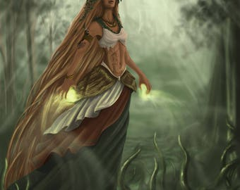 Druid of the Forest -digital art print on various materials and available in various sizes