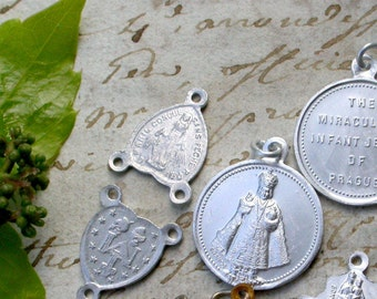 French vintage lot of 8 religious rosary medals silver gold sacred heart vintage charms virgin mary our lady baby jesus cross st christophe