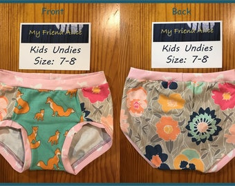 Kids undies, size 7-8, underwear, pants, panties, briefs, fox in the flowers