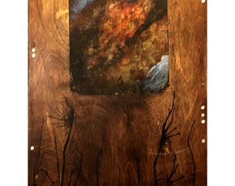 """Abstract Mixed Media on Wood """"Untitled"""""""