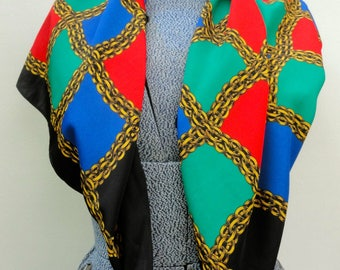 NOS Square Scarf, 80s Doncaster Scarf Large NWT, Unworn Primary Colors Scarf Deadstock, 32 X 34 Inches Green Blue Red Neckerchief With Tags