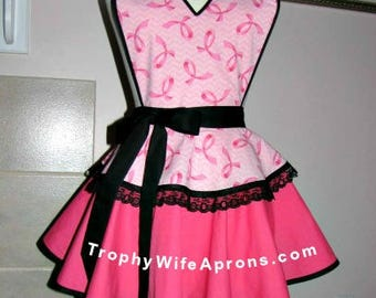 Apron # 508 - Breast cancer retro apron