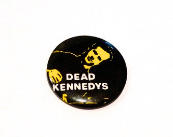 Dead Kennedys Pinback 1970s 1980s Vintage Jello Biafra Band Pin Button Black and Yellow California Punk Hardcore Badge Cali Mohawk Music
