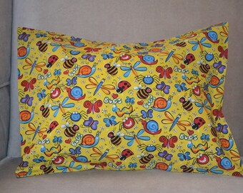 Travel Pillow Case / Child Pillow Case INSECTS / BUGS /  Bumble Bees / Dragon Flies / Snails / Worms / Spiders