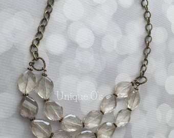 Champagne crystal double stranded necklace, ready to ship!