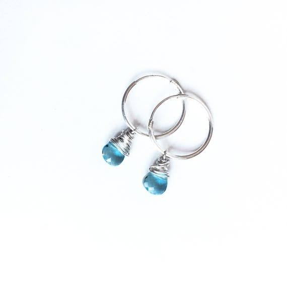 Semi-precious stones and sterling silver earrings, dangle earrings