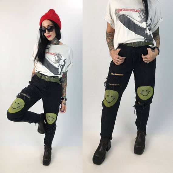 "Size 4/5 High Waist Grunge Smiley Face Knee 90's Black Jeans - 27"" VTG Grunge Smiley Jeans Hand Painted Unique Shredded Denim w/ Frayed Hem"