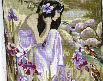 French vintage needlepoint tapestry young girl and birds
