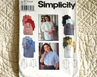 Shirt, M L, Simplicity 9818 Pattern, Loose, Front Buttons, Dropped Shoulders, Shirt-tail Hem, Pointed Collar, 1996 Uncut, Size 12 14 16