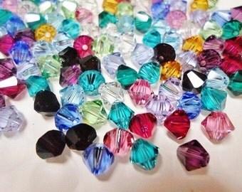 24pc. mix 6mm Bicone, Birthstone Bead Mix, Genuine Swarovski crystal, High Quality Crystals, 6mm bicone, finding, jewelry supplies supplier