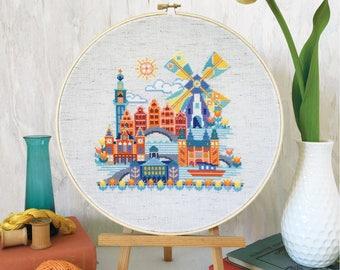 Pretty Little Amsterdam - printed version - Satsuma Street modern cross stitch pattern