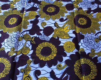 Brown white and yellow wax print 50 cm x 120 cm - Wax Africa