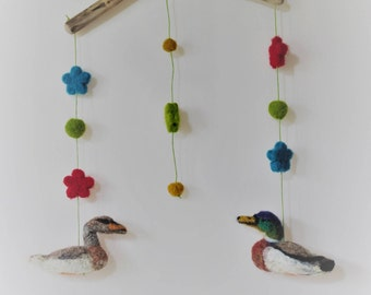 Felted baby mobile, Felted duck mobile,Woodland,Newborn gift,Nursery decor,Childrens room,Nursery room decor, Waldorf decor,Ready to ship