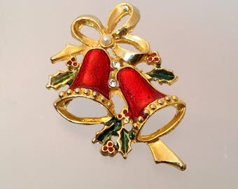 Christmas Bell Pin, Enamel Xmas Bells & Holly Brooch, Holiday Costume Jewelry