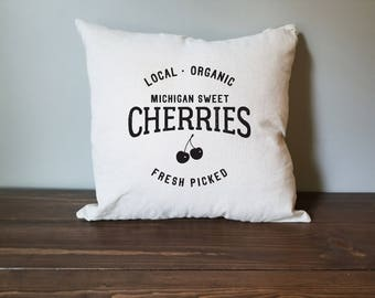 michigan sweet cherries farmhouse pillow cover. rustic decor. farmhouse decor. accent pillow.