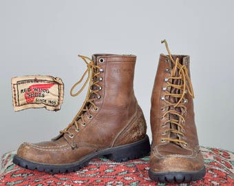 1960's vintage Red Wing Boots Lace Up women's size 7.5 8 worn in Distressed Patina redwings work boots