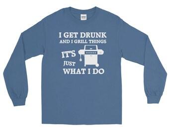I Grill Things Long Sleeve T-Shirt | BBQ T-shirt | Grilling T-shirt | Gas Propane Grill T-shirts