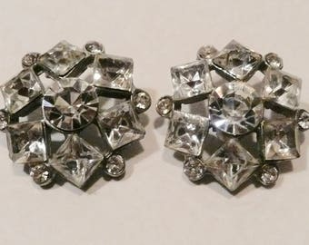 Two Vintage Clear Rhinestone Buttons