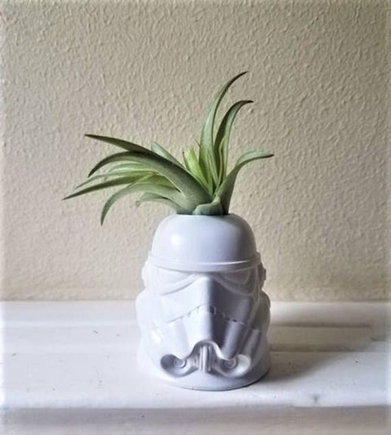 Storm trooper inspired planter, air plant holder, geek chic, gift for nerd, dark side